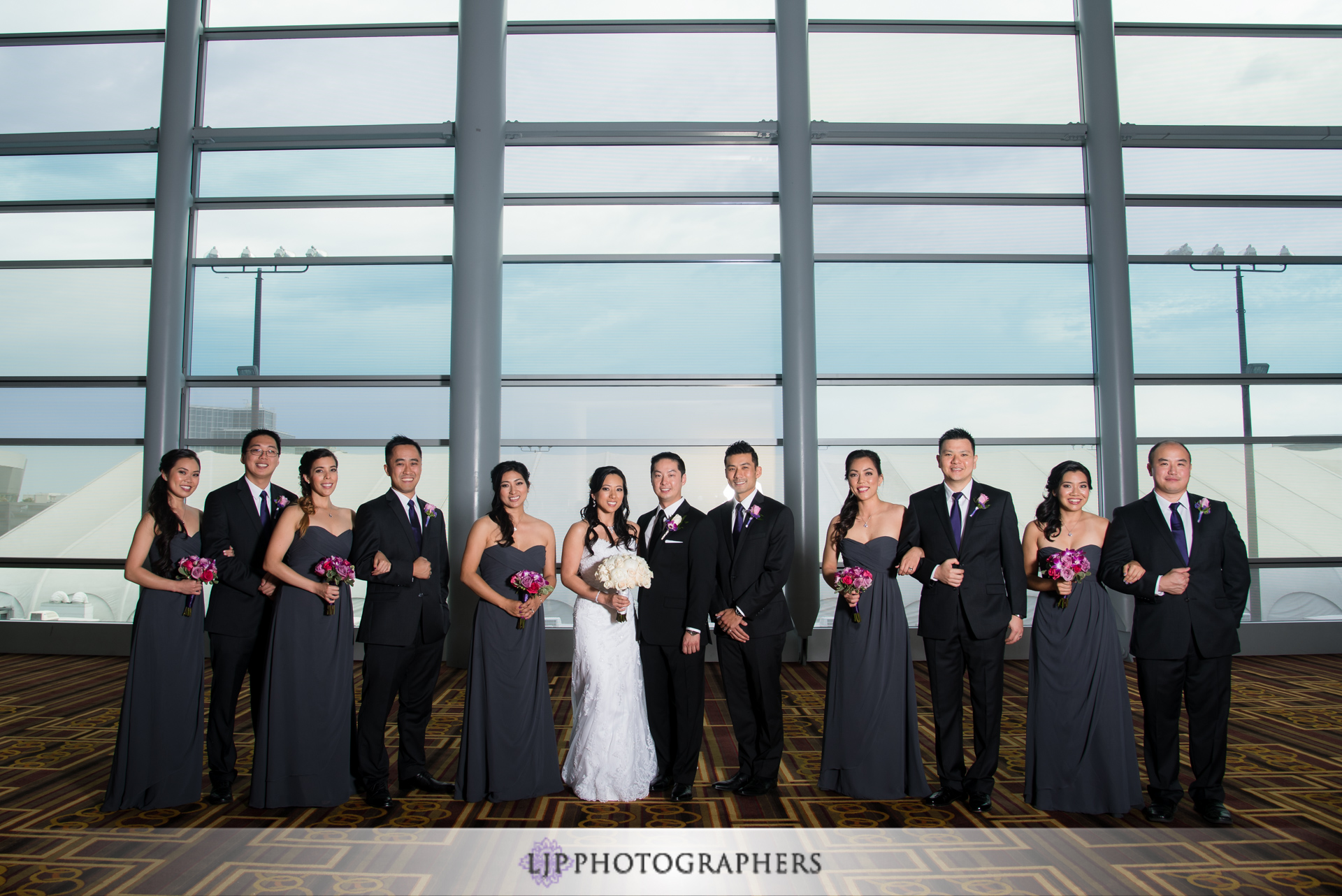 09-jw-marriott-los-angeles-wedding-photographer-first-look-wedding-party-couple-session-photos
