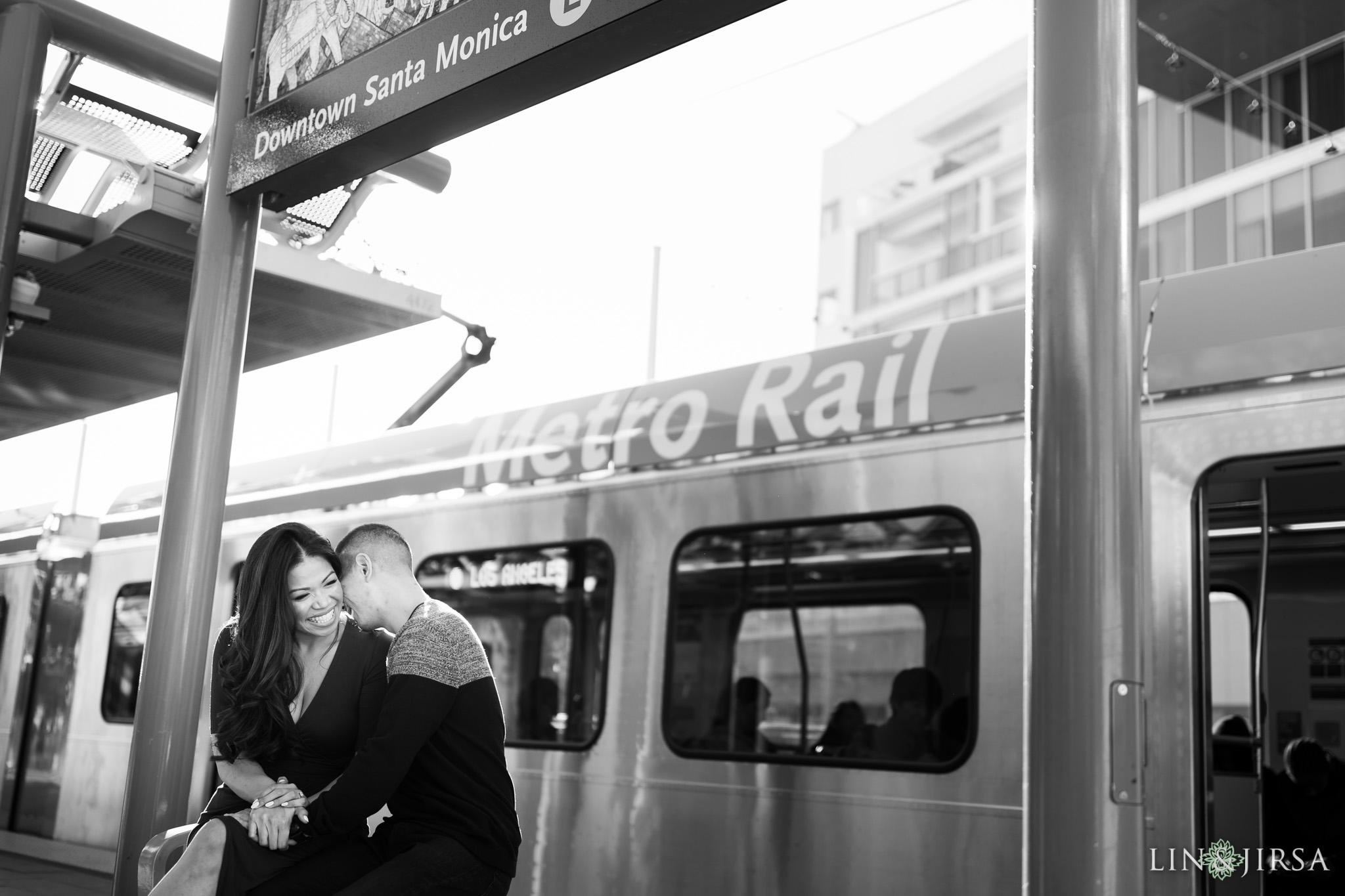 06 metro station santa monica engagement photography