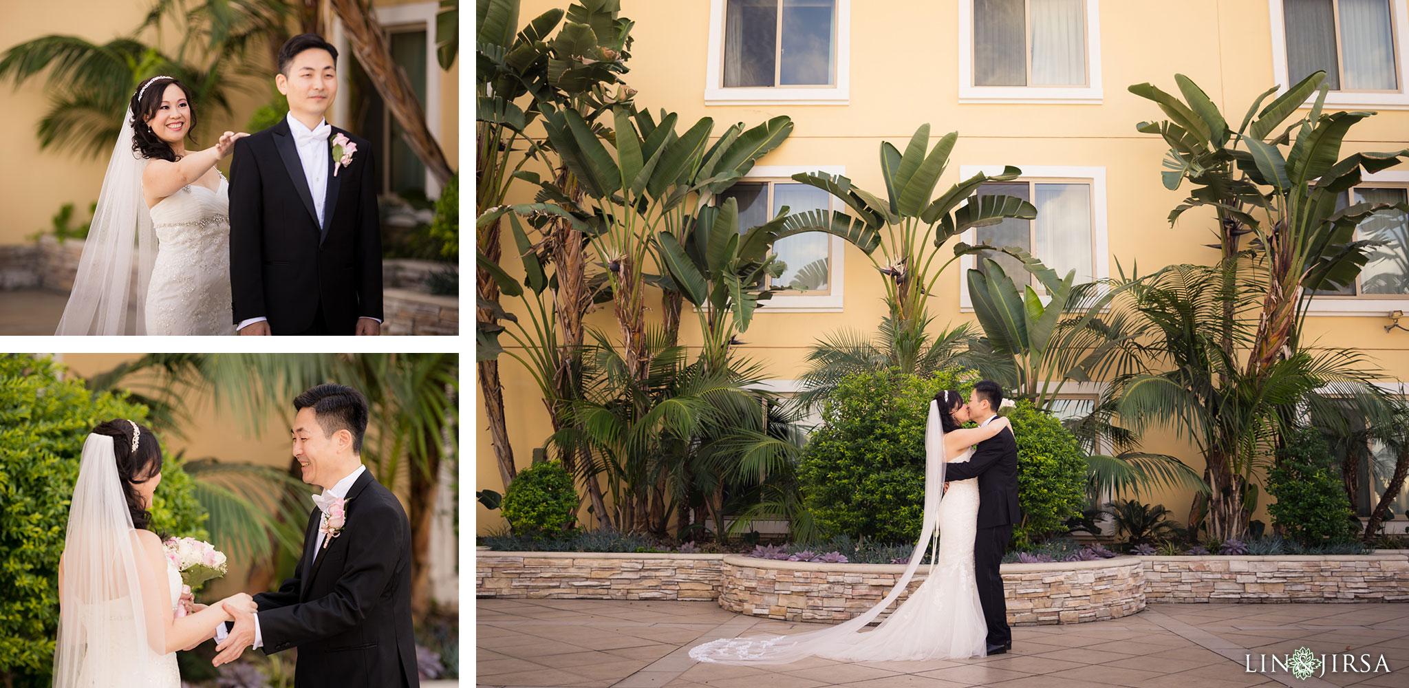 11 san gabriel hilton wedding first look photography