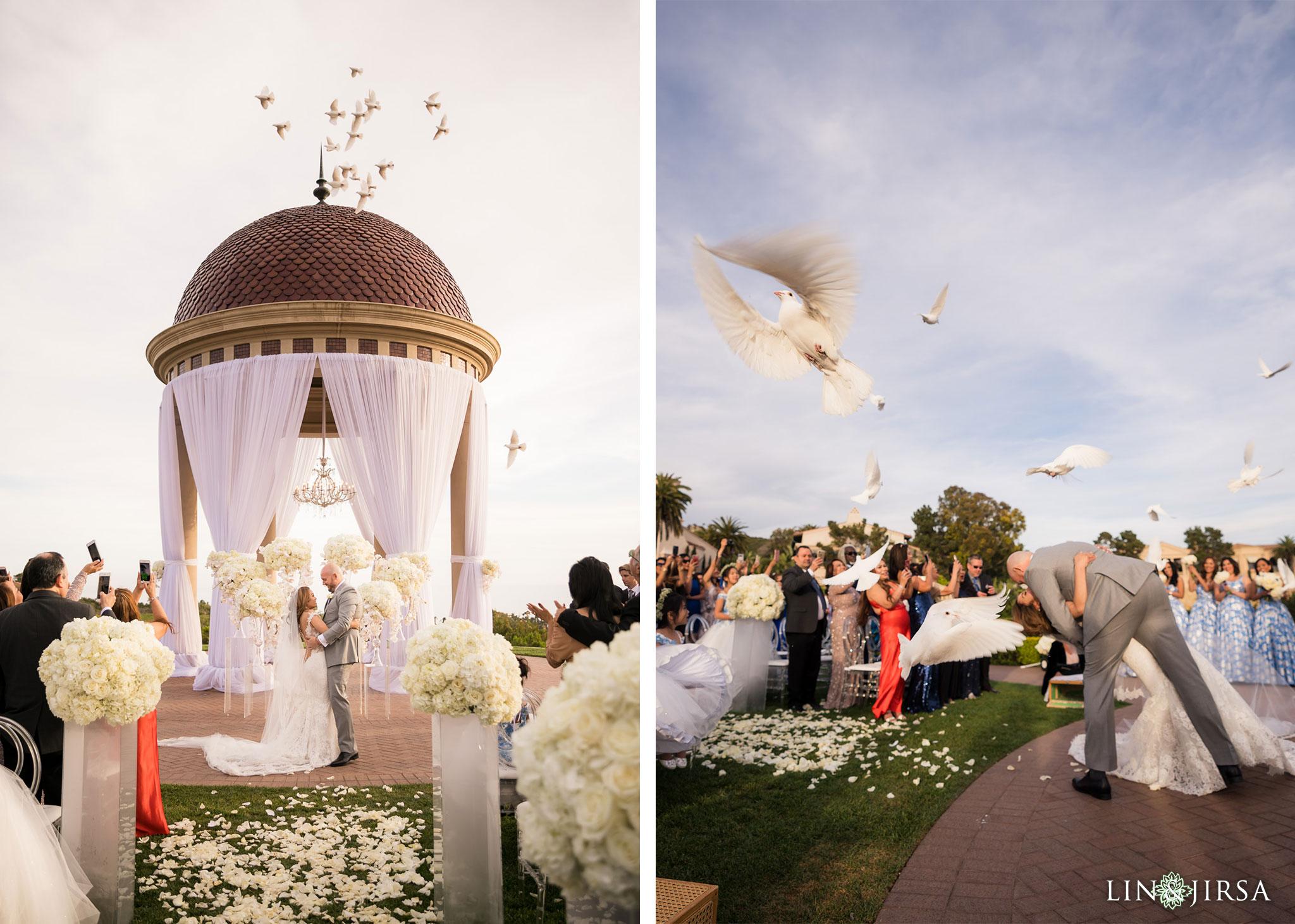 23 pelican hill resort orange county wedding ceremony doves photography