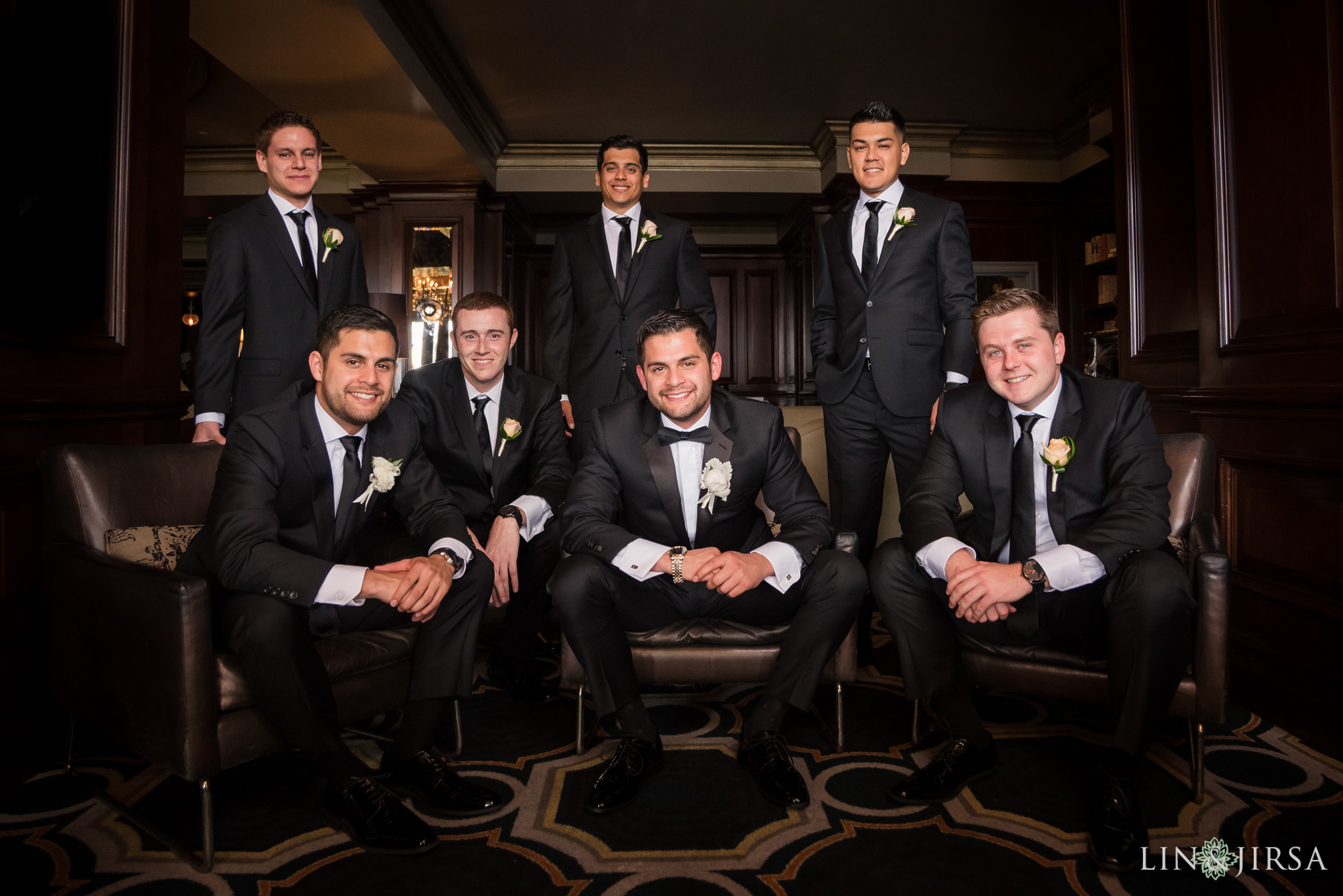 16 langham huntington pasadena groomsmen wedding photography