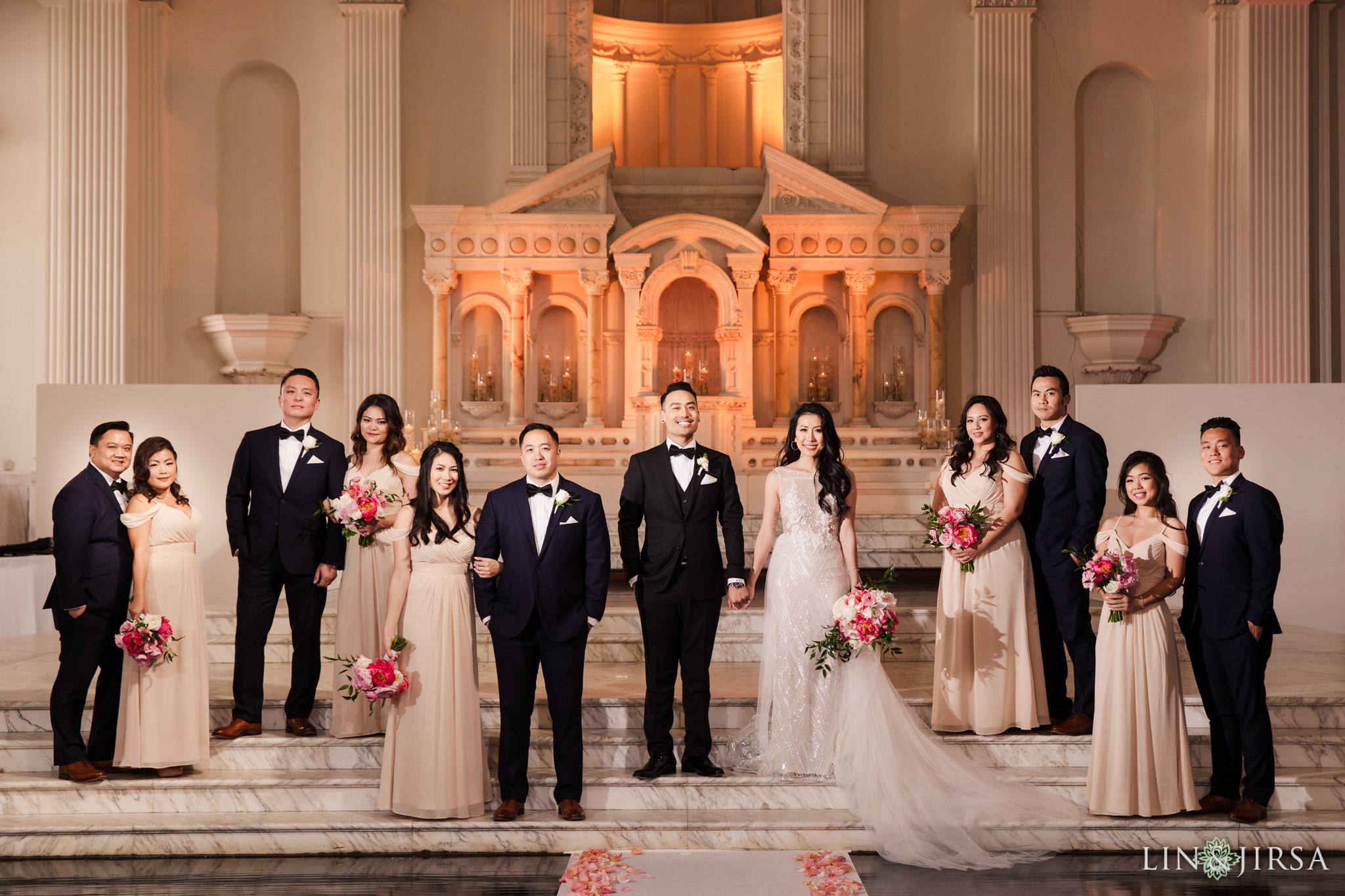 24 st vibiana cathedral los angeles wedding party photography