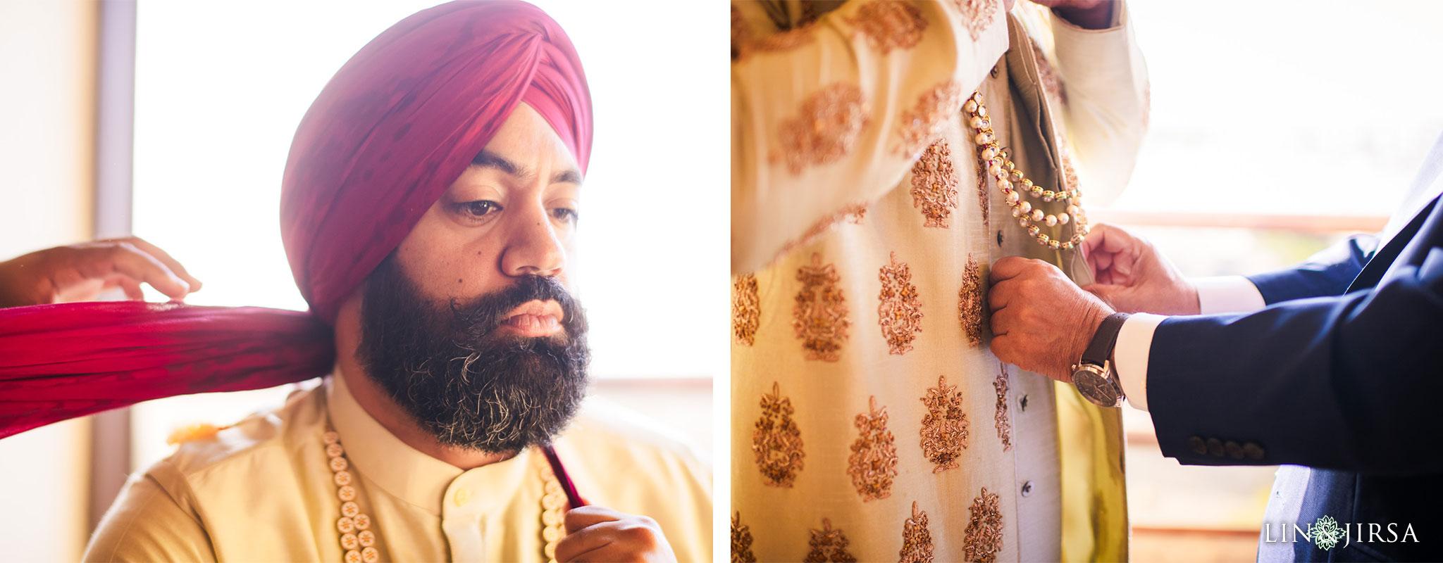 09 marina del rey marriott punjabi groom pagri wedding photography