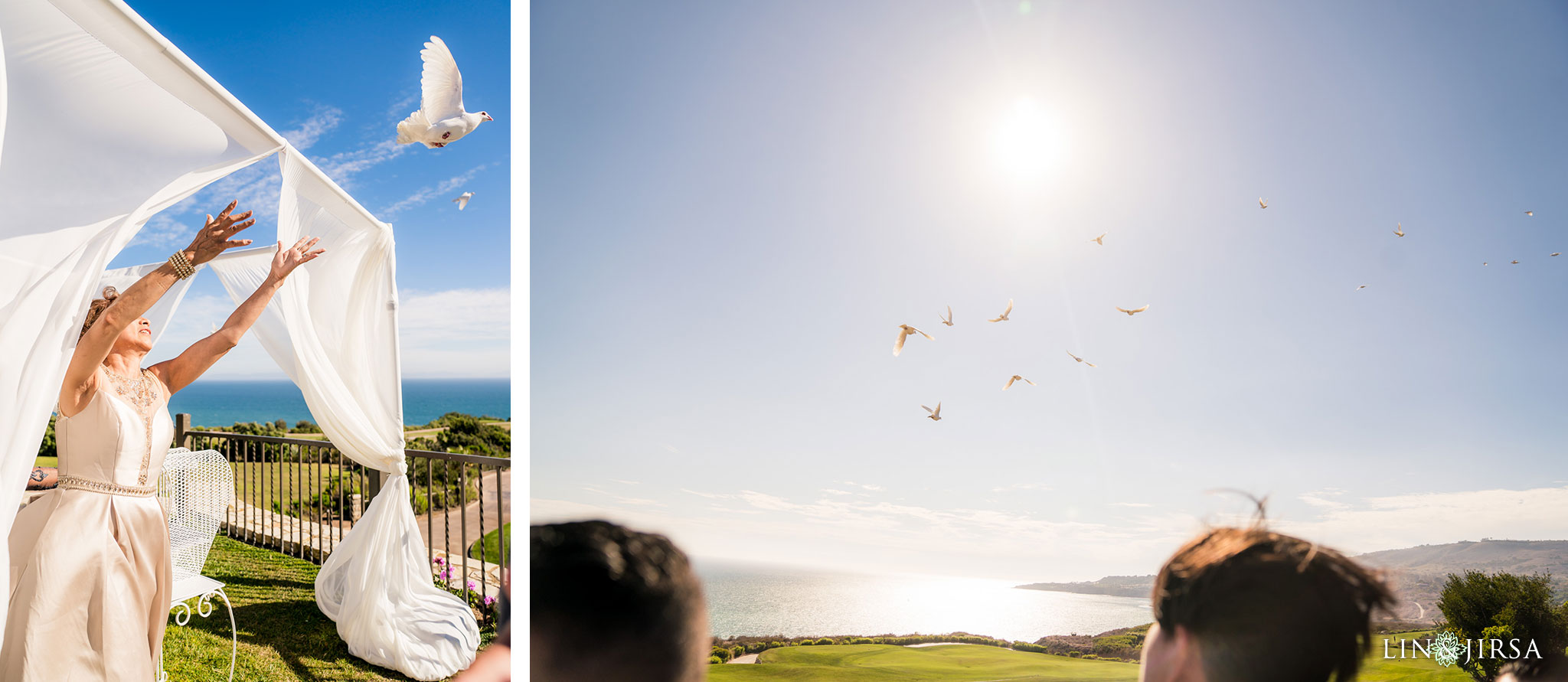 18 trump national golf club palos verdes wedding ceremony doves photography
