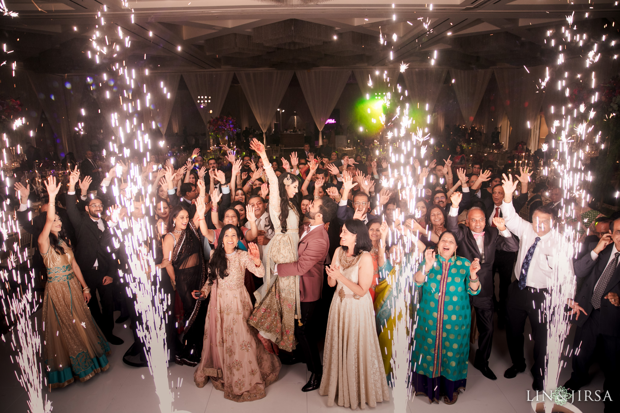 65 hotel irvine indian wedding reception sparklers photography