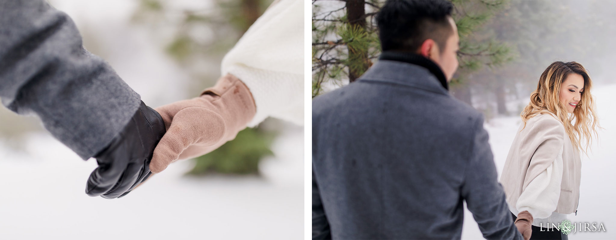zbf Green Valley Lake Snowy Engagement Photography