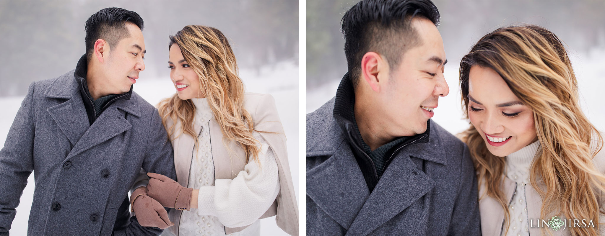 04 Green Valley Lake Snowy Winter Engagement Photography