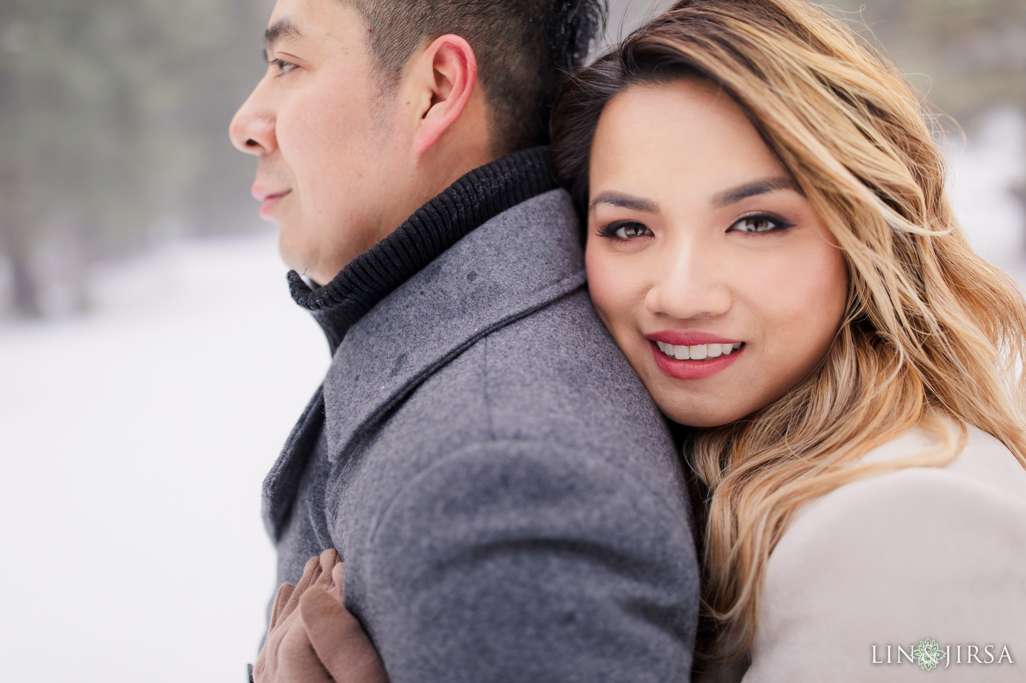 06 Green Valley Lake Snowy Engagement Photography