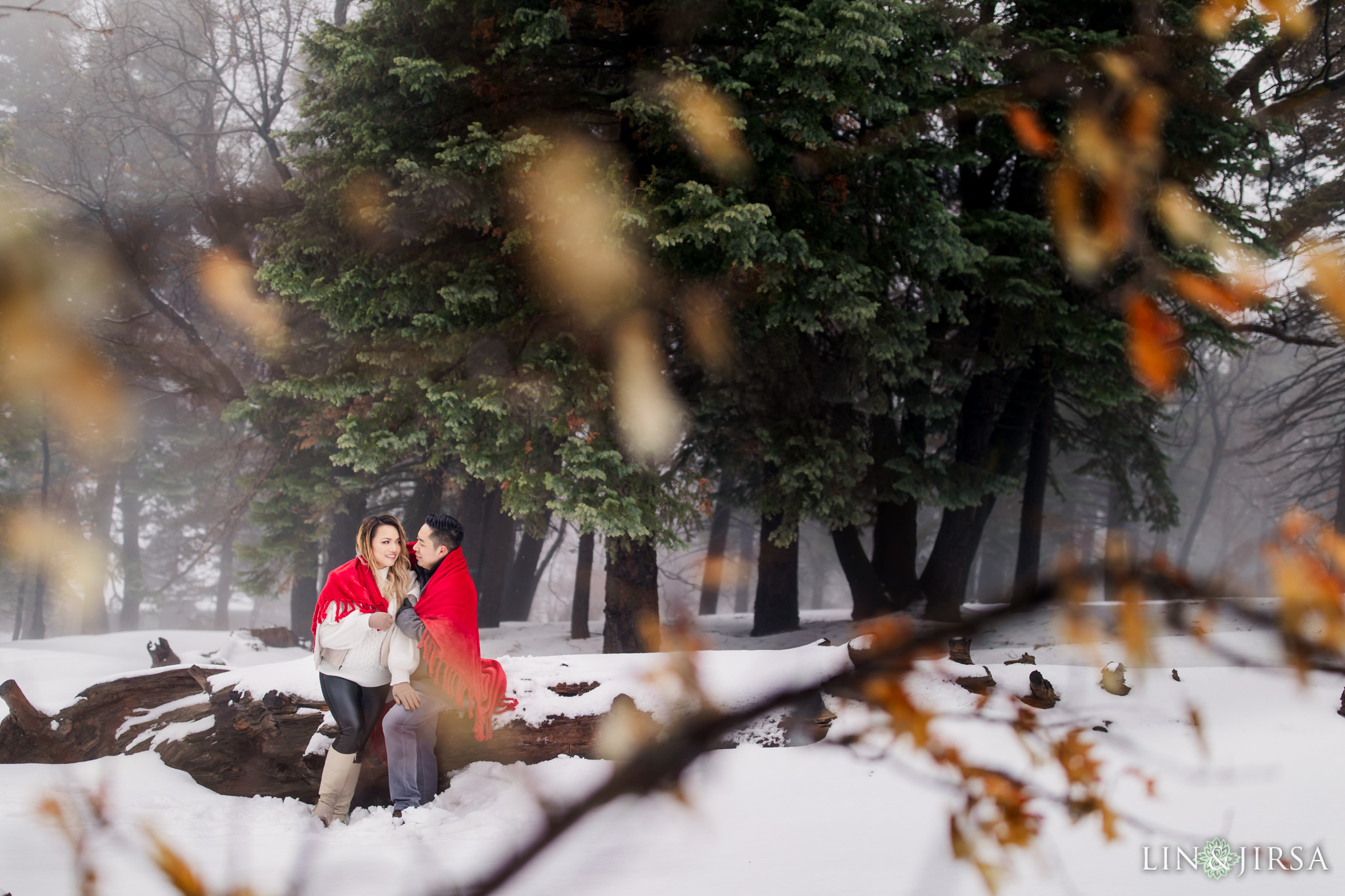 08 Green Valley Lake Snowy Engagement Photography