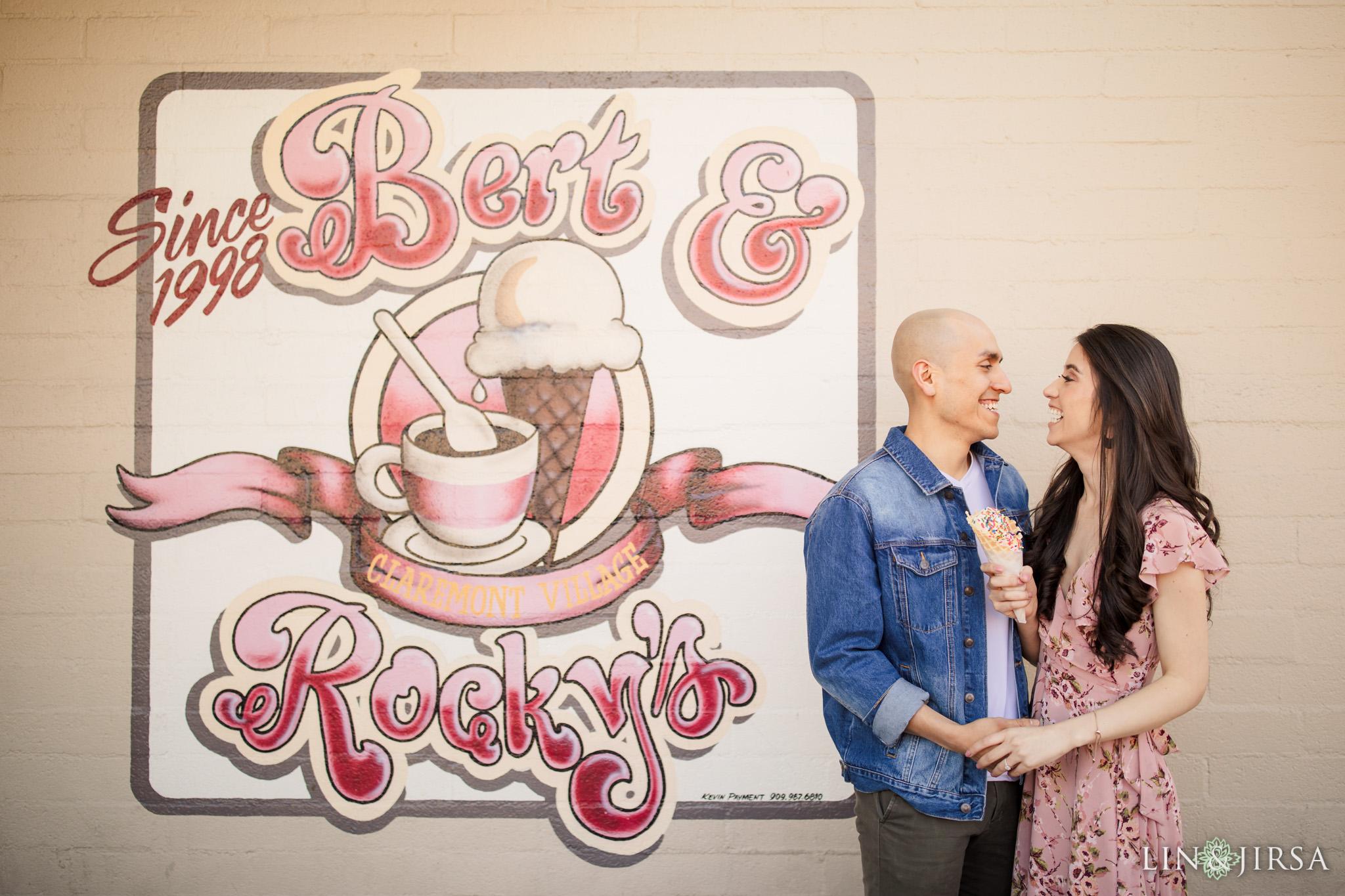 04 Claremont Village Bert Rockys Ice Cream Engagement Photography