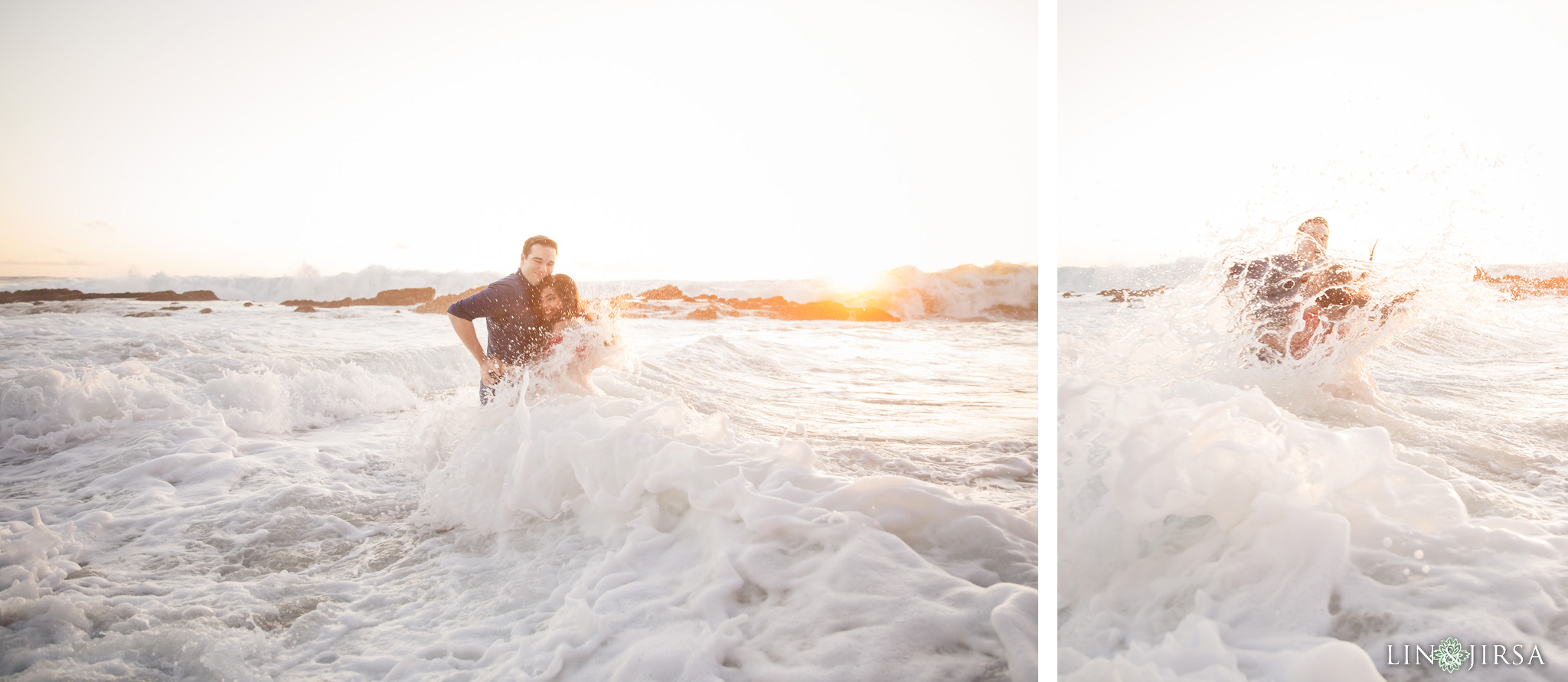 13 Victoria Beach Wave Splash Engagement Photography