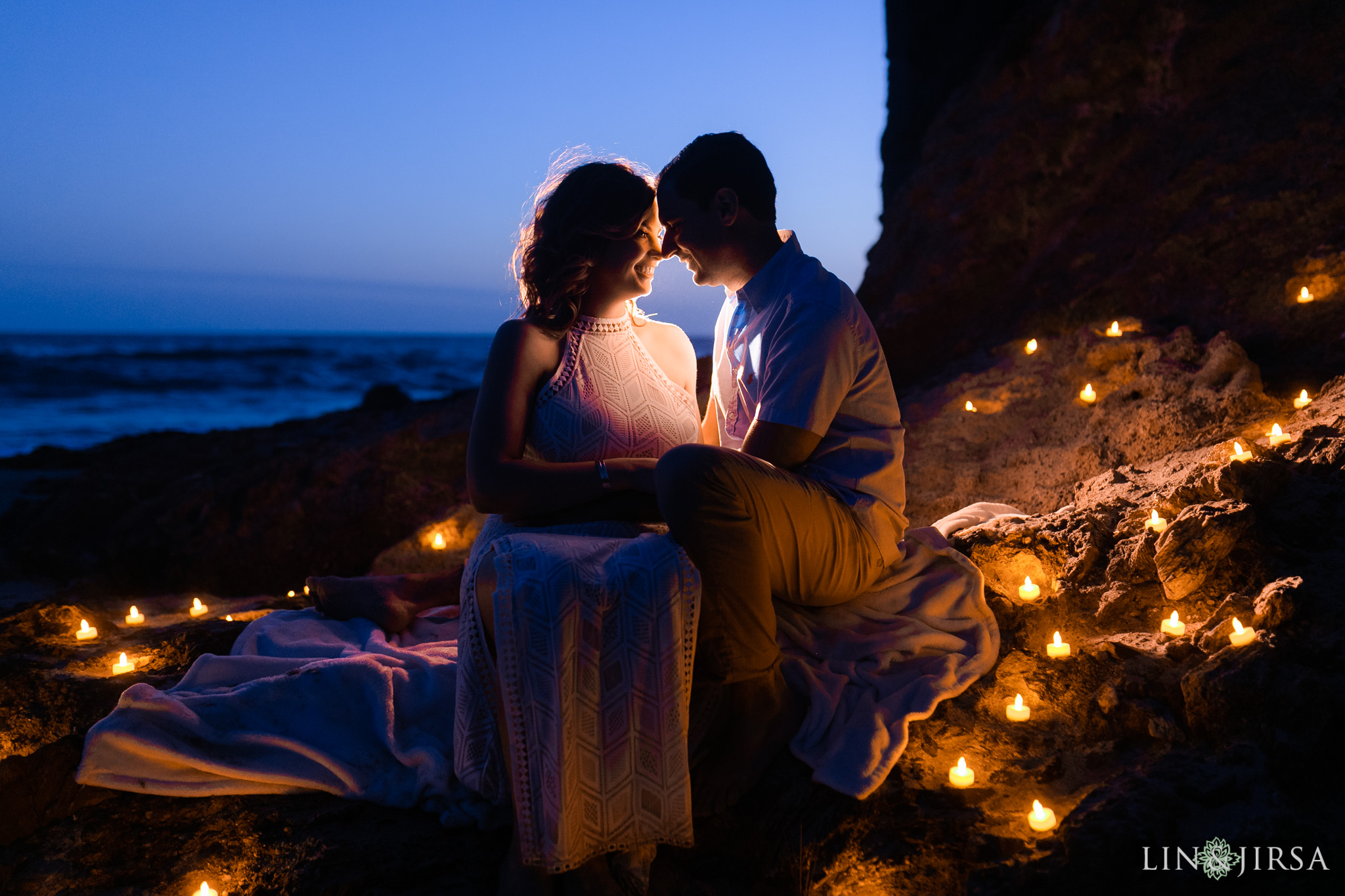 17 Orange County Candles Romantic Beach Engagement Photography