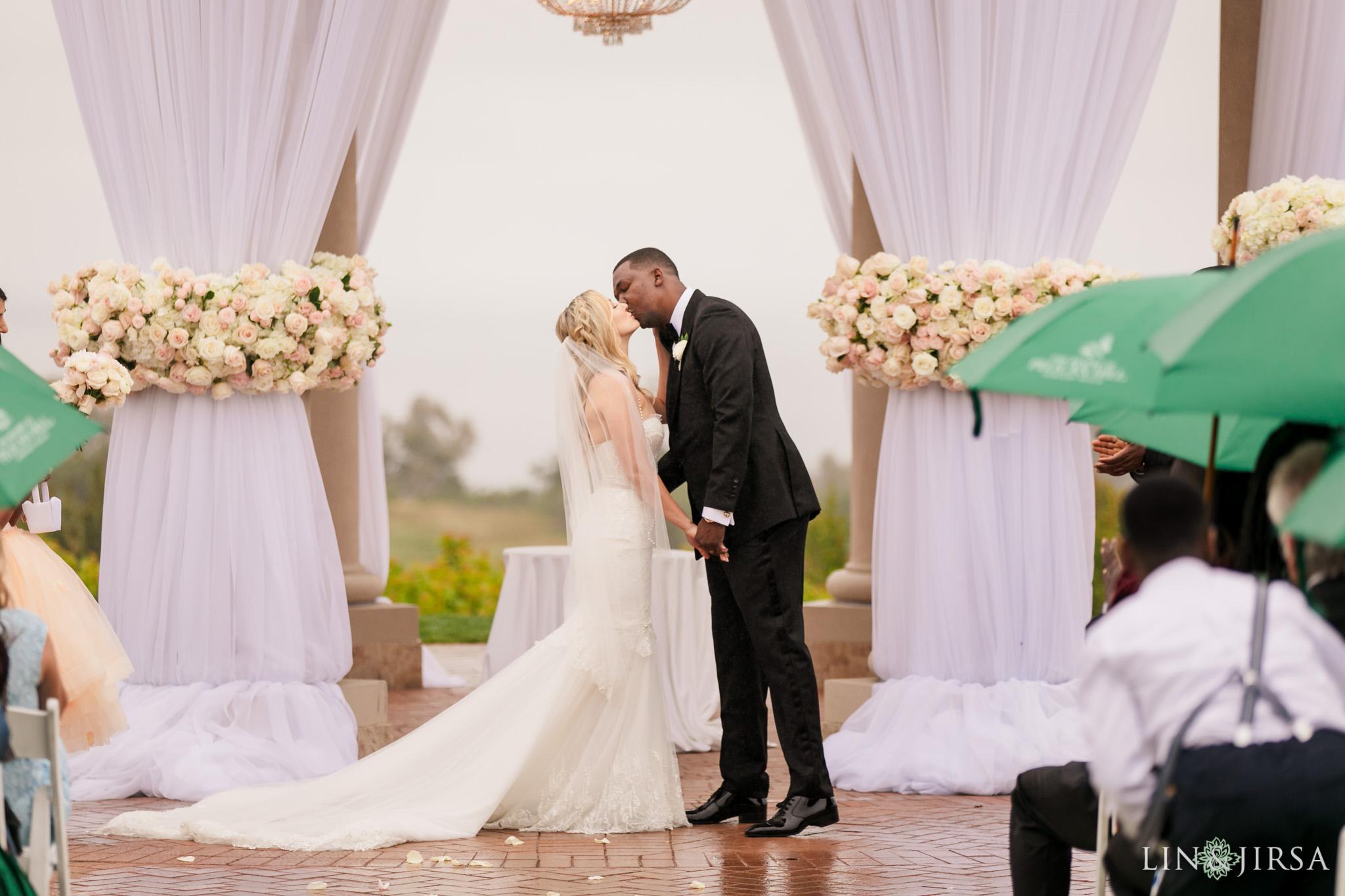 15 Pelican Hill Resort Orange County Rainy Wedding Ceremony Photographer