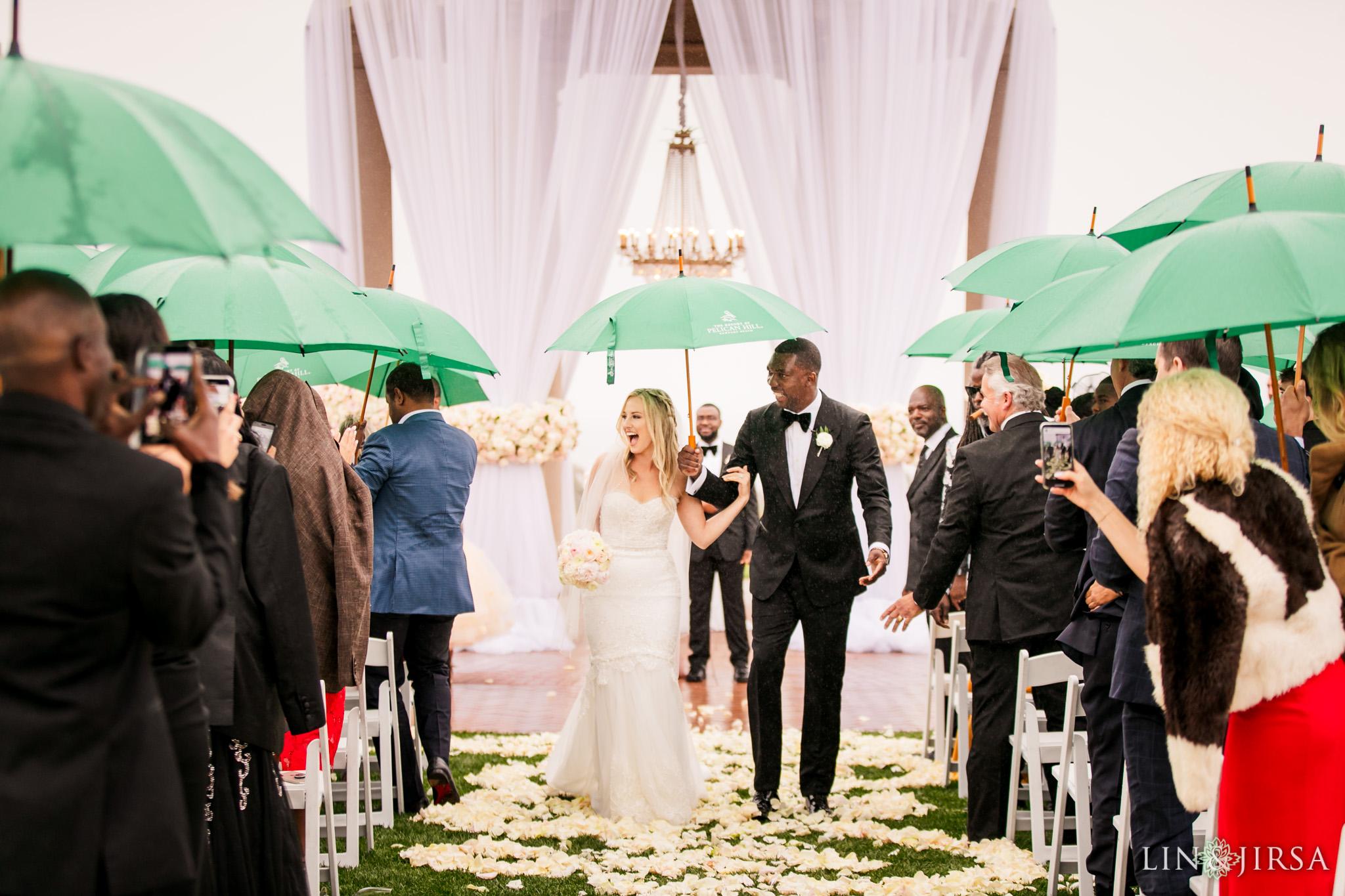 16 Pelican Hill Resort Orange County Rainy Wedding Ceremony Photographer