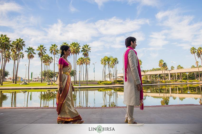 008 Hyatt Regency Long Beach Indian Wedding Photographer First Look Couple Session Photos