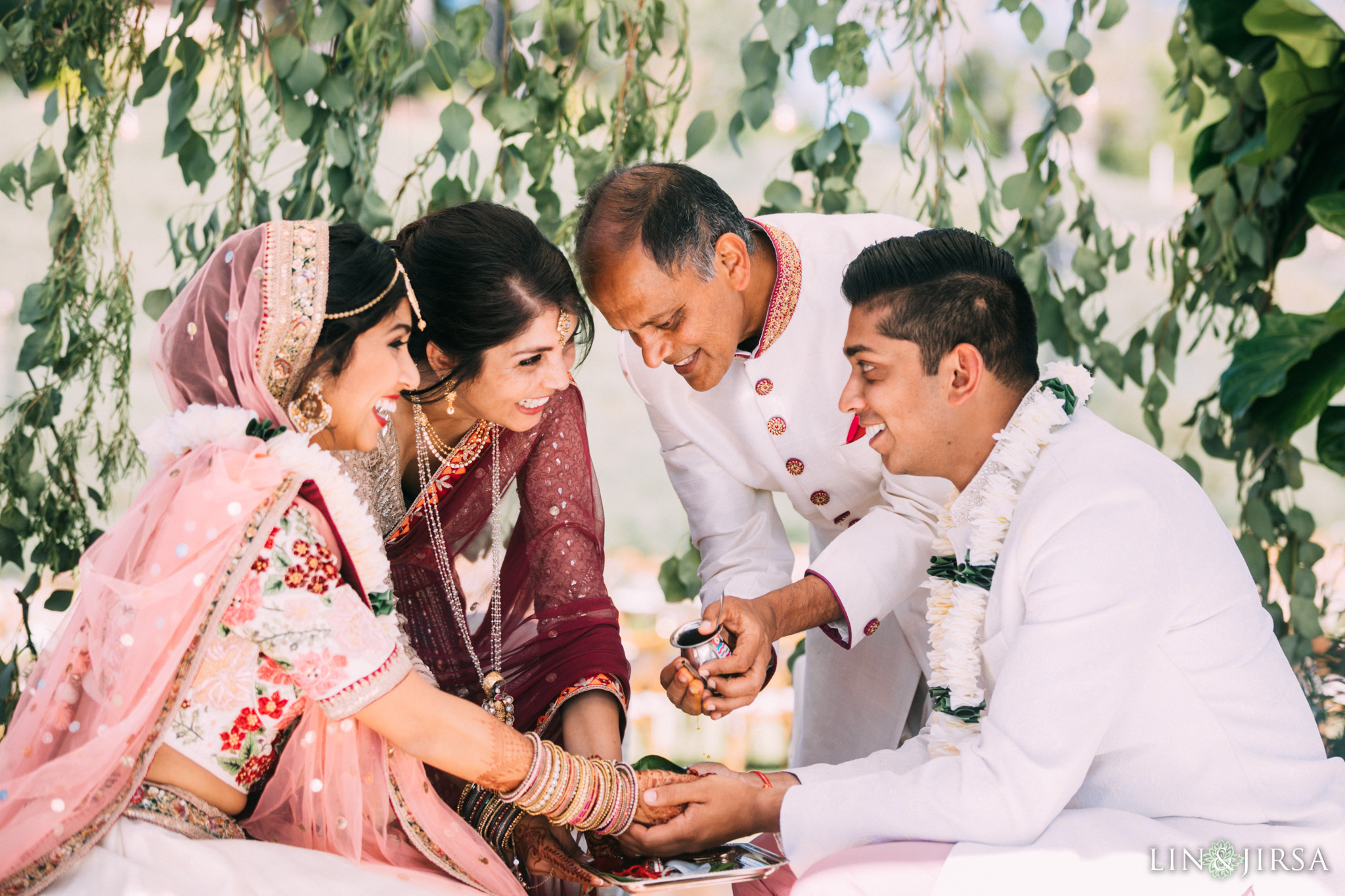 ethereal open air resort wedding family ceremony indian