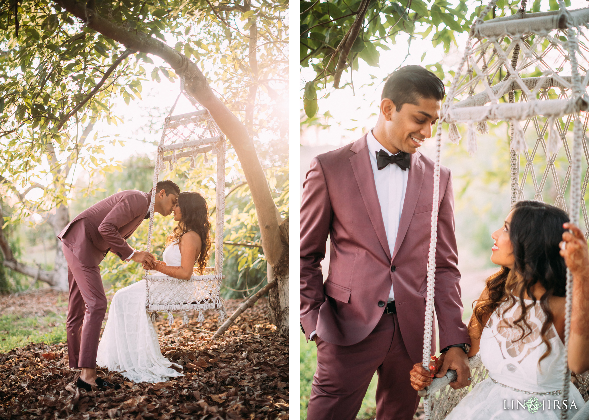 ethereal open air resort wedding couple session swing