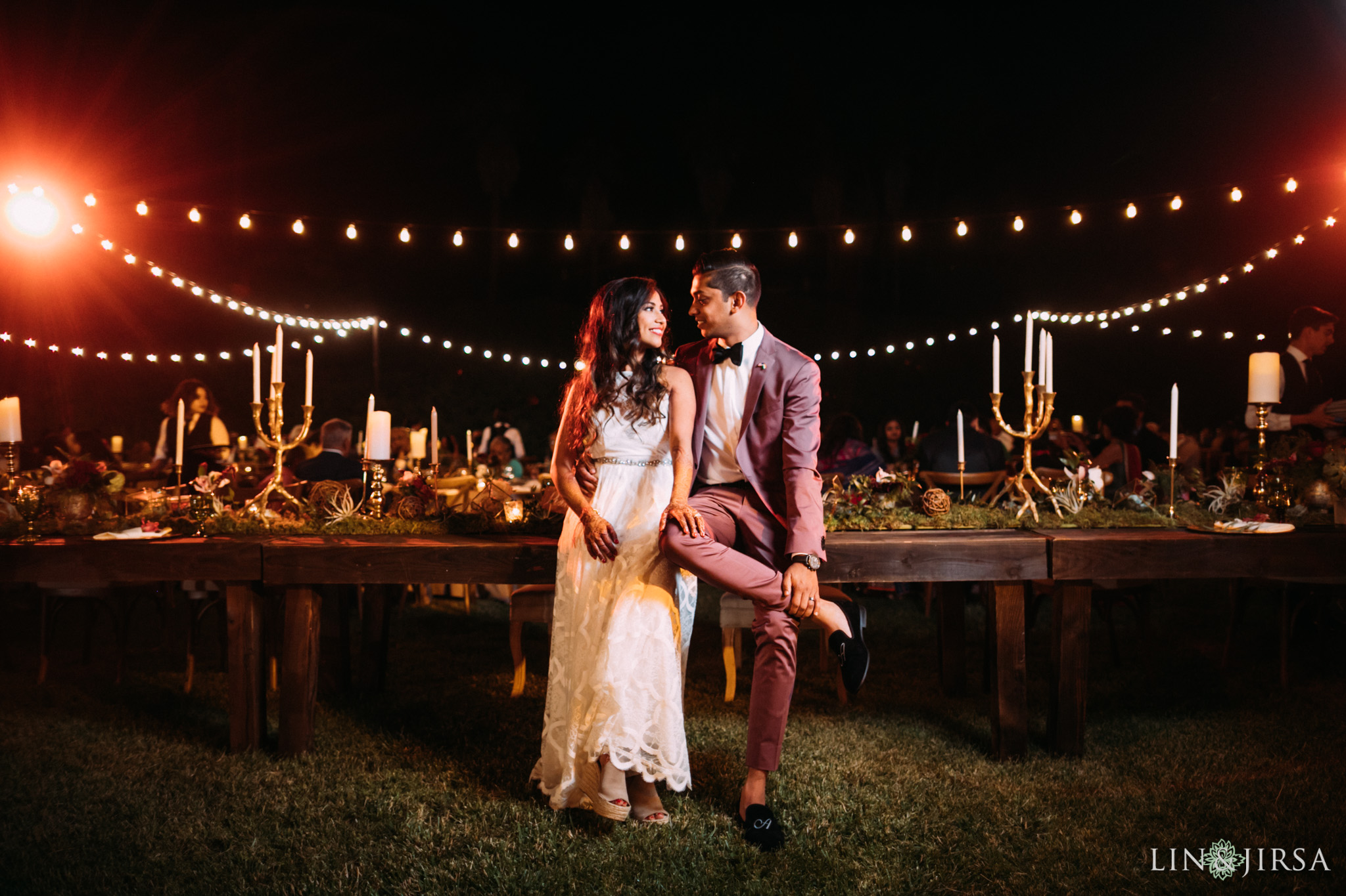 ethereal open air resort wedding night couple session