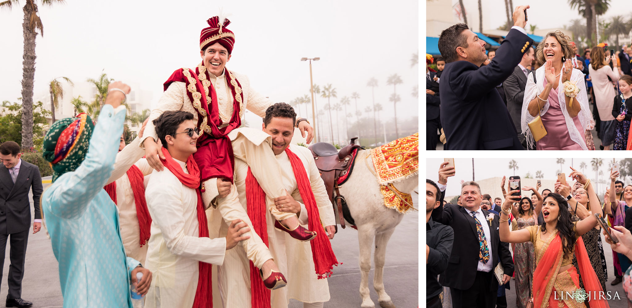 31 newport beach marriott hotel indian wedding baraat photography