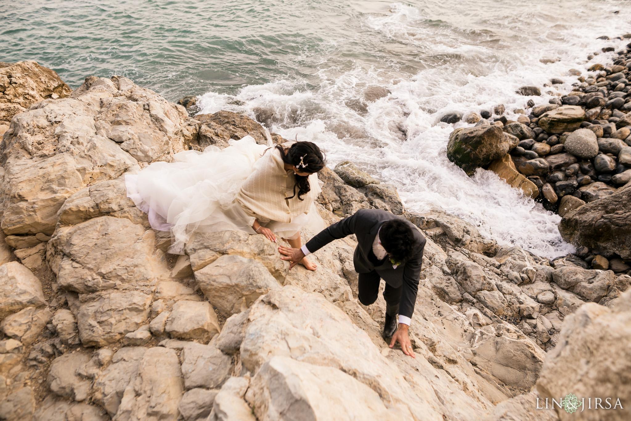 28 terranea resort rancho palos verdes rock climbing cliff wedding photography