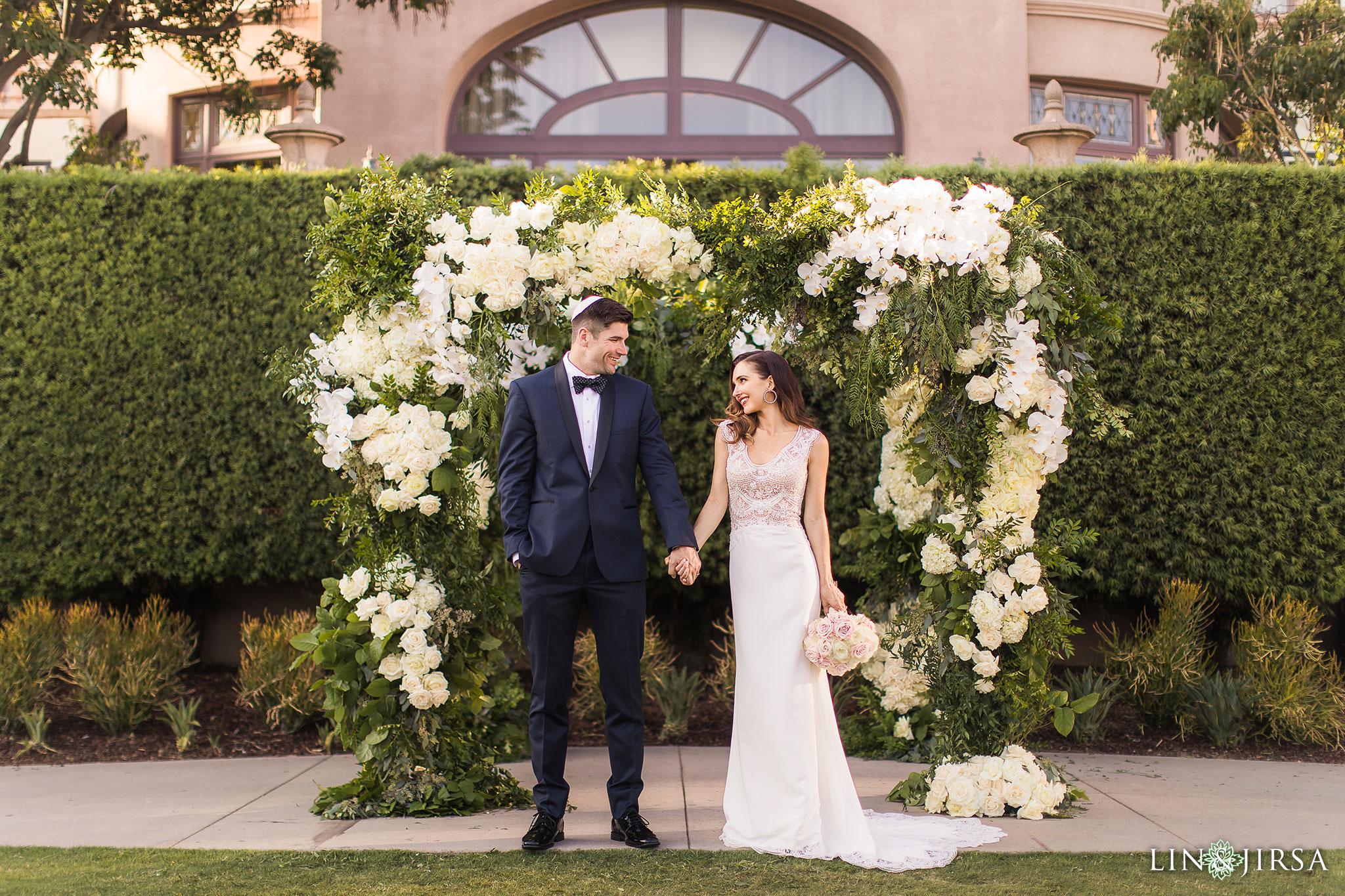 19 langham pasadena jewish couple wedding ceremony photography