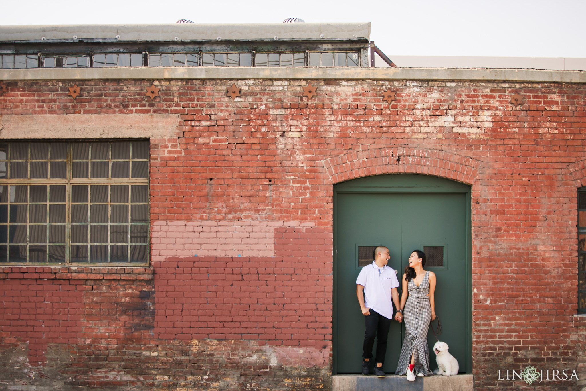 ZAK downtown los angeles puppy engagement photography