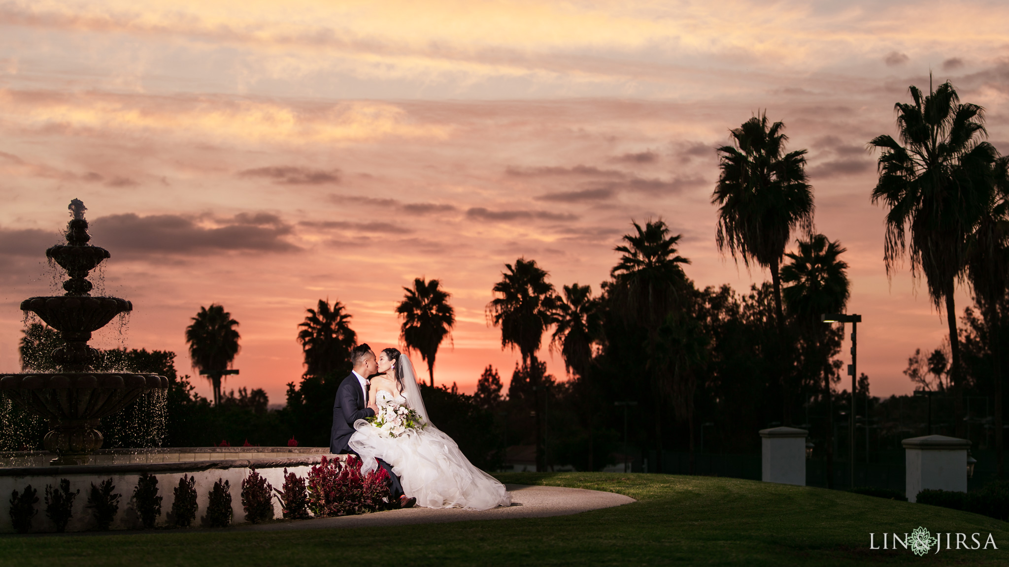 29 Los Coyotes Country Club Buena Park Wedding Sunset Photography