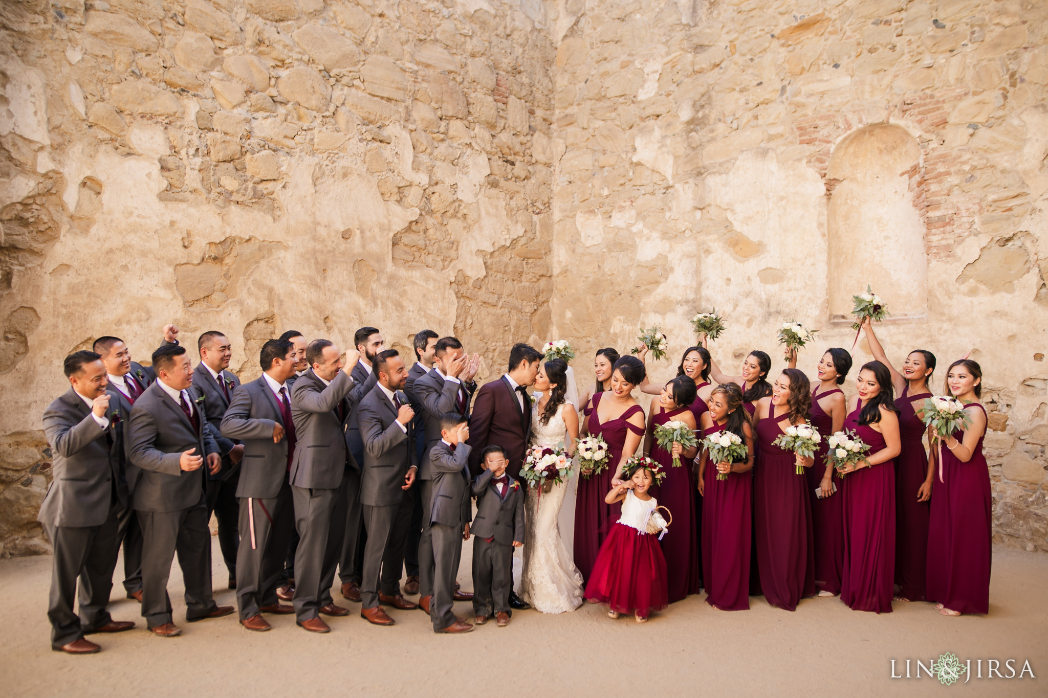 38 mission san juan capistrano wedding party photography