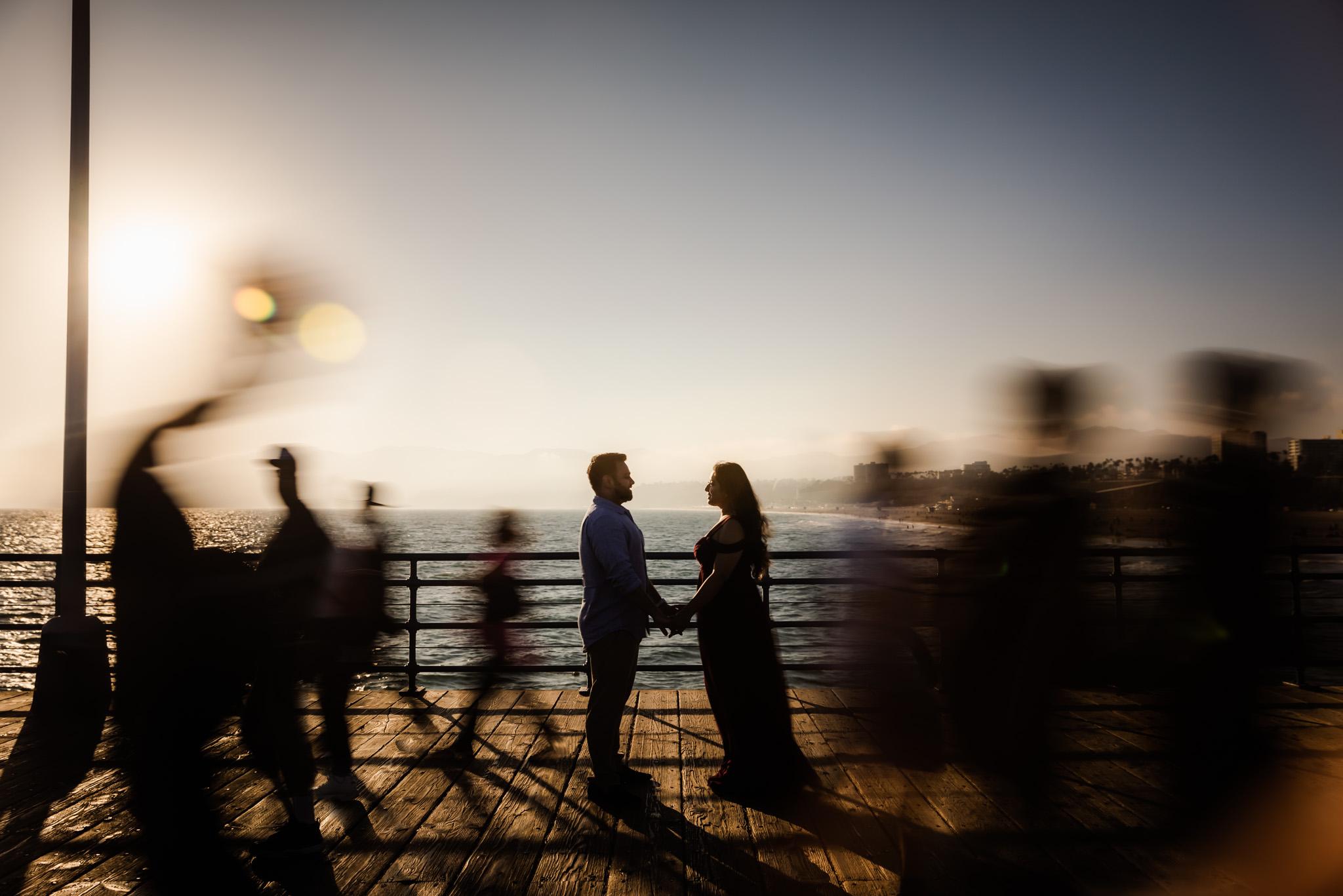 08 Santa Monica Beach Sunset Engagement Photography