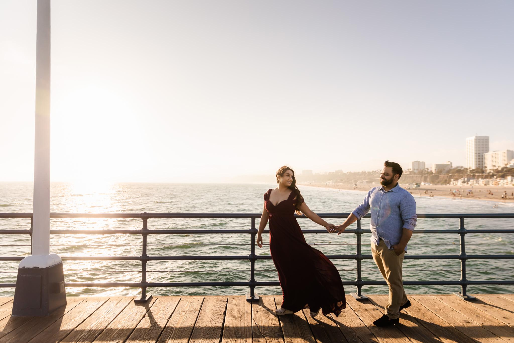 09 Santa Monica Beach Sunset Engagement Photography