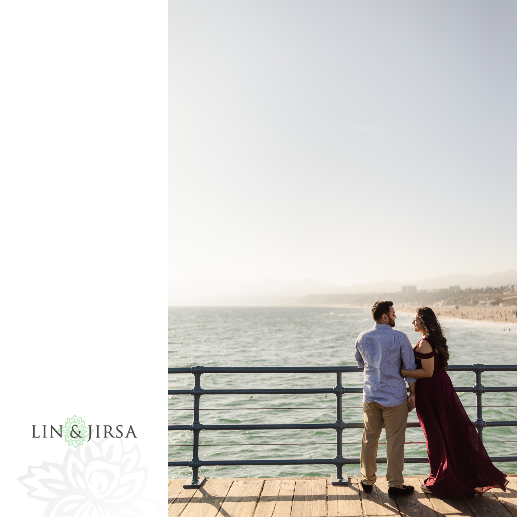 zpj Santa Monica Beach Sunset Engagement Photography